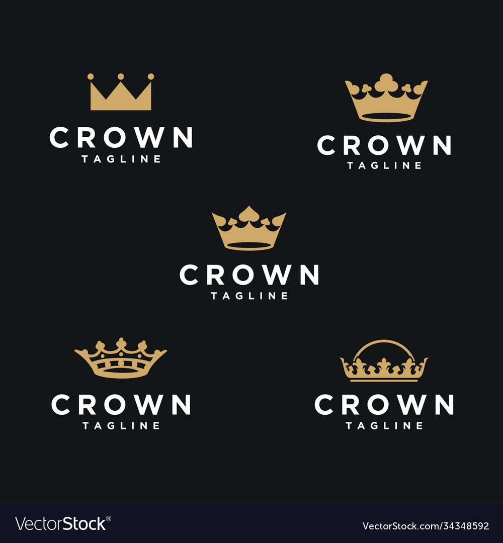 Luxury crown logo icon set collection
