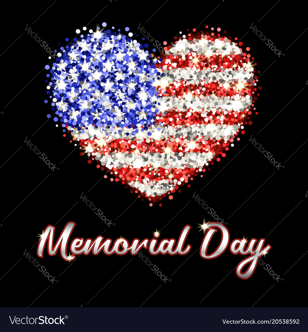 Memorial day poster with sparkling american flag