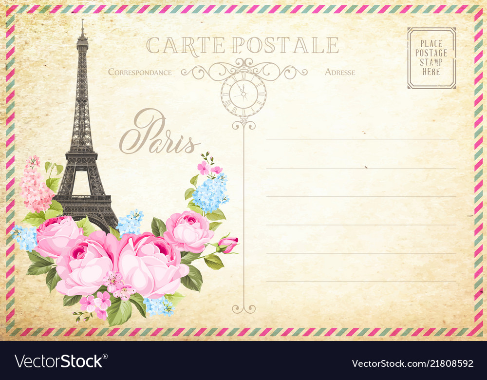Old blank postcard with post stamps and eiffel