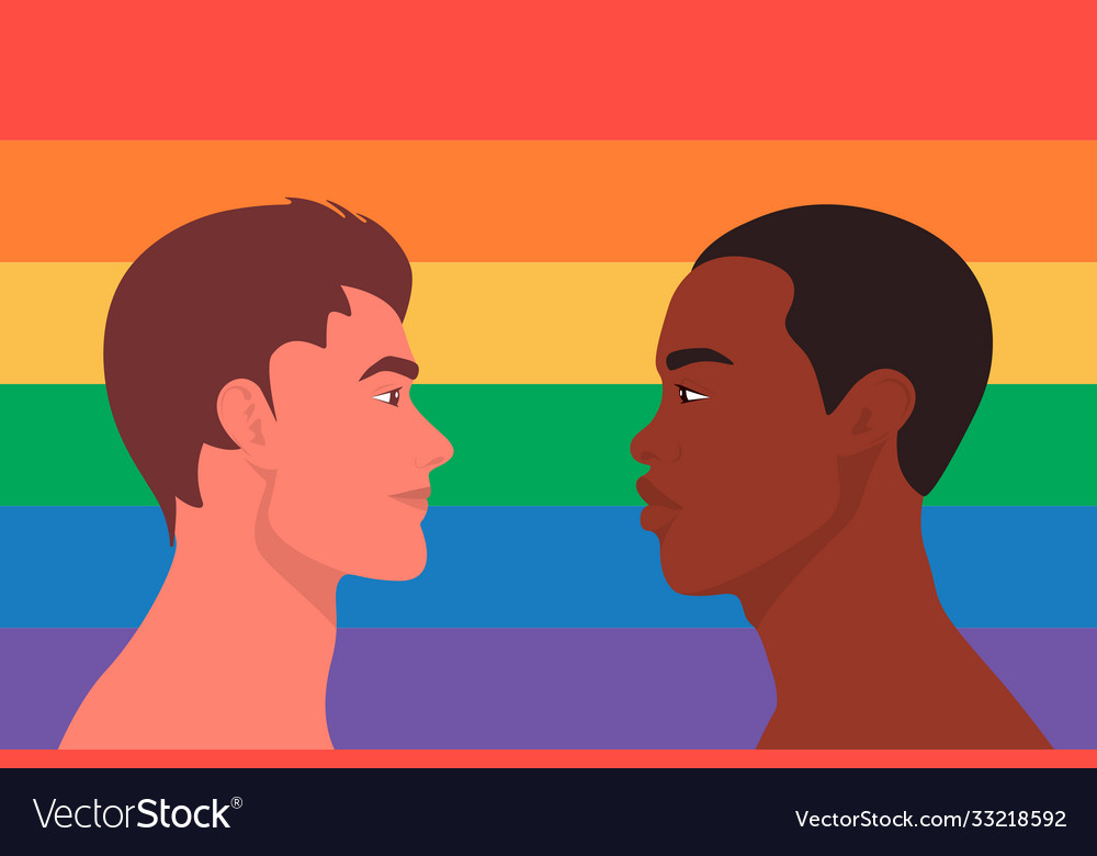 Portrait cute two young men gay couple look