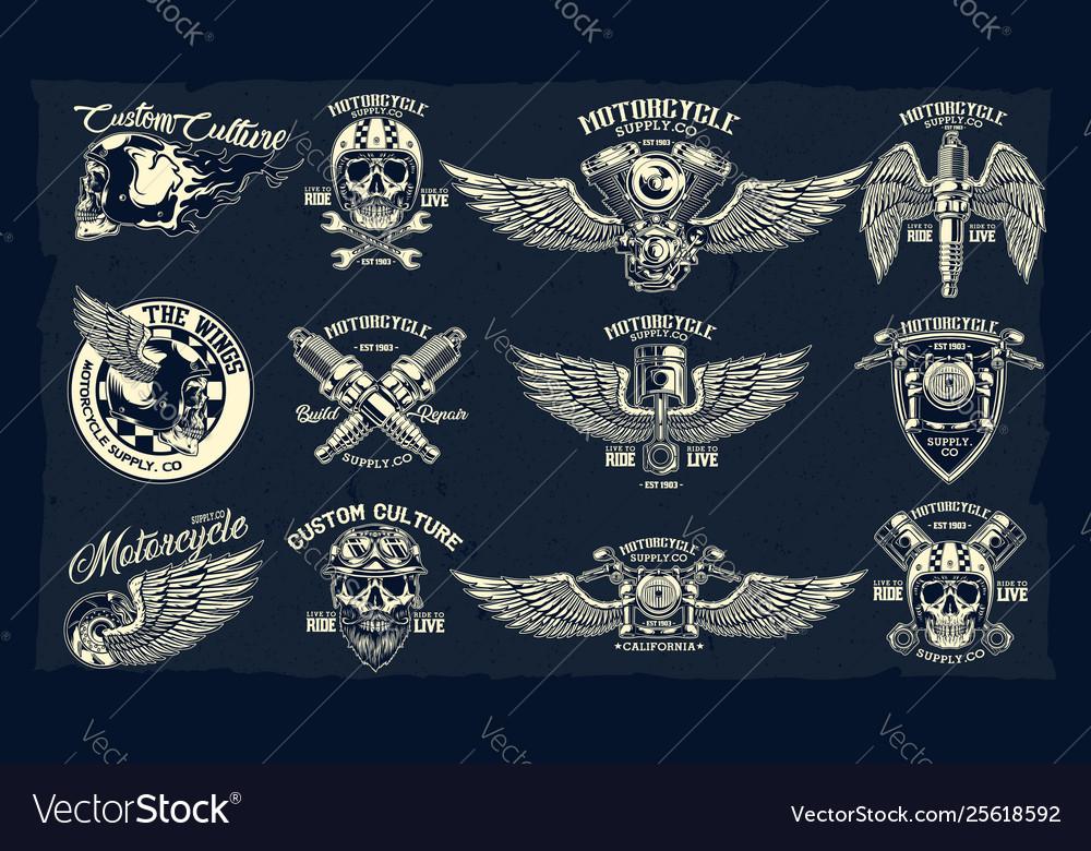 Set classic motorcycle emblems