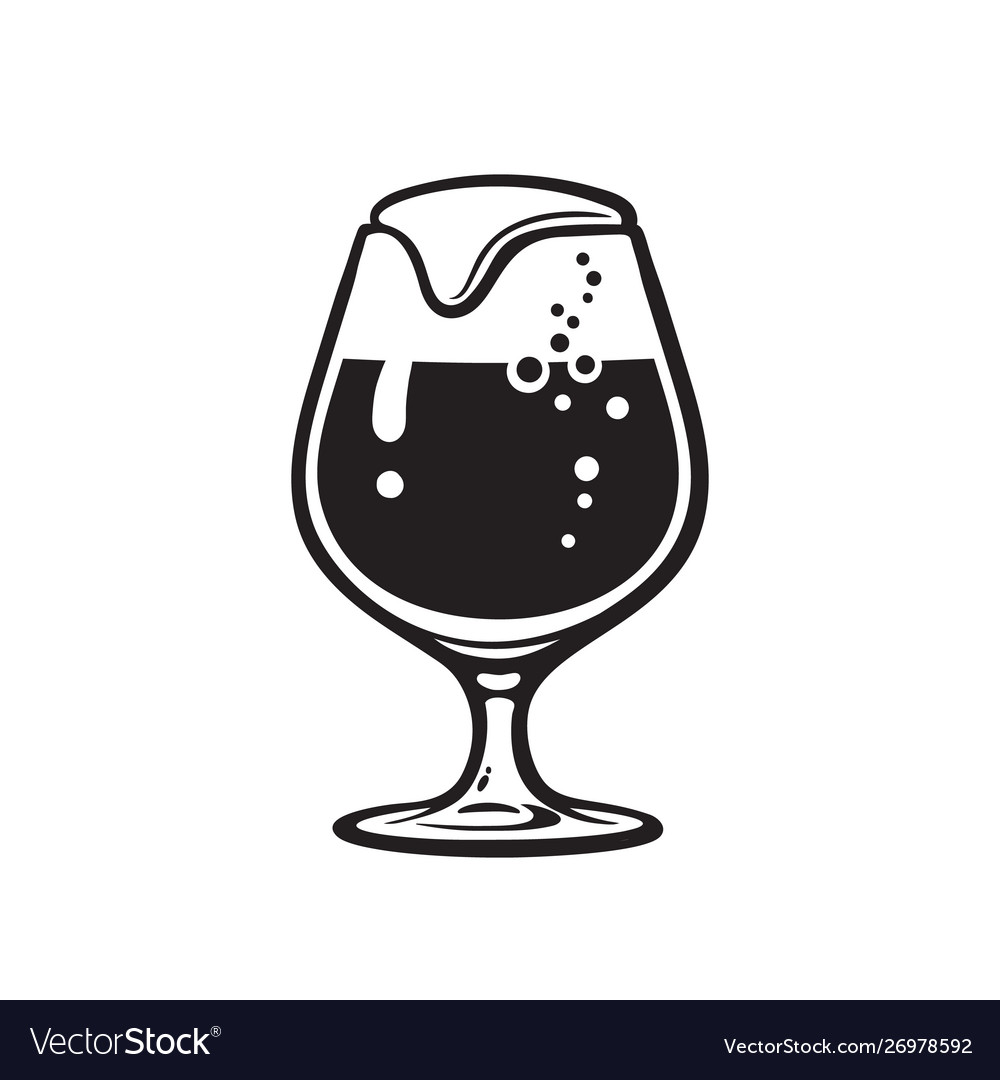 Snifter beer glass hand drawn