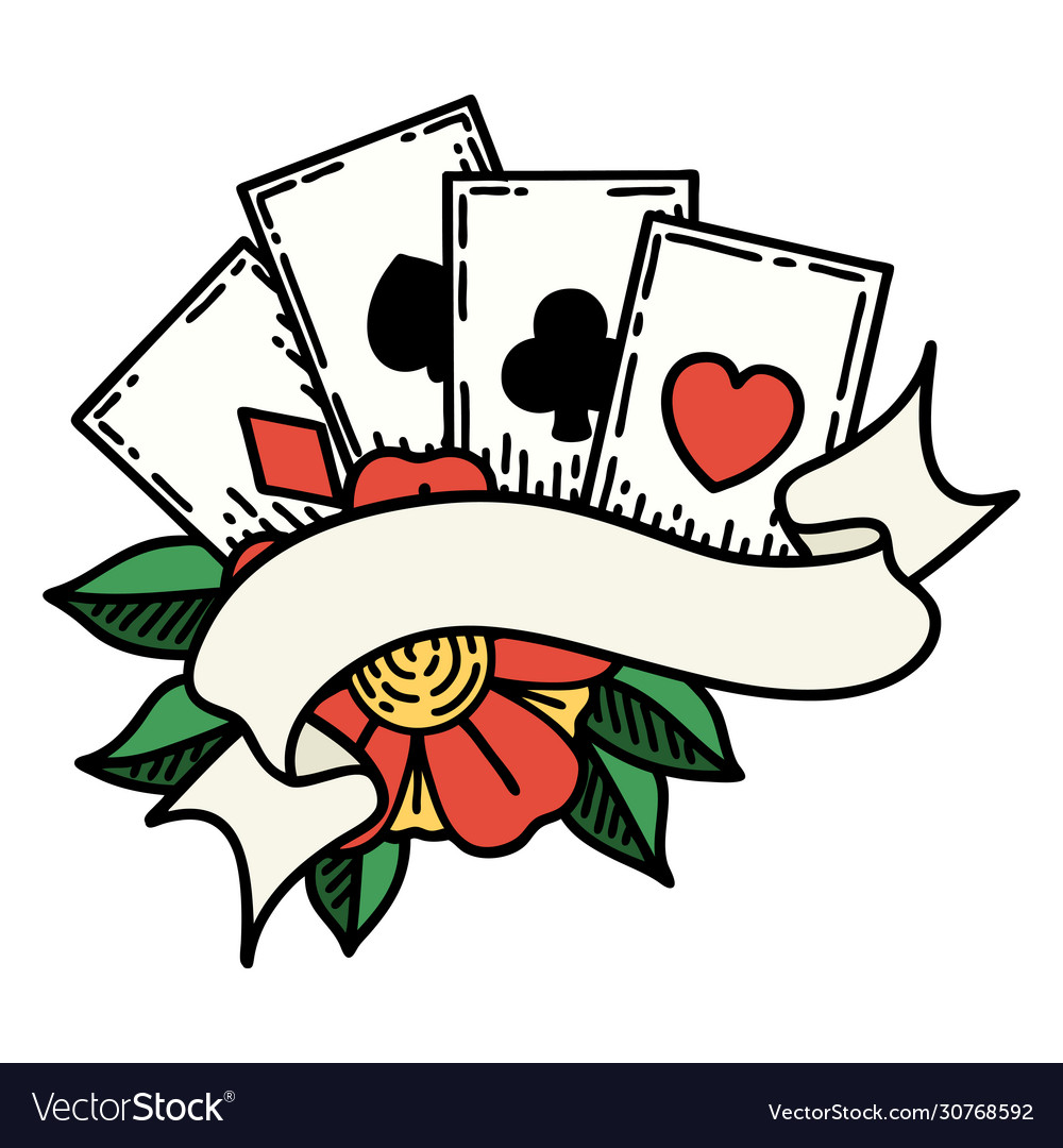 Traditional Tattoo Cards And Banner Royalty Free Vector