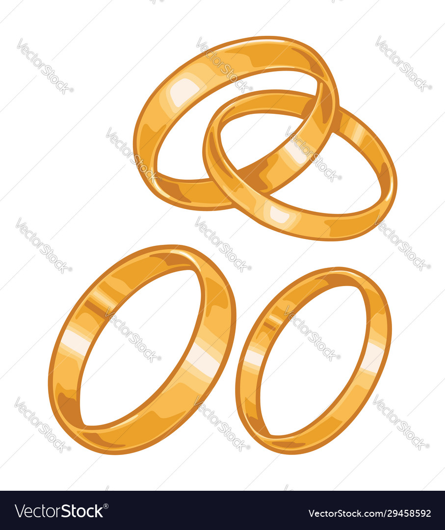 Two golden wedding rings color flat