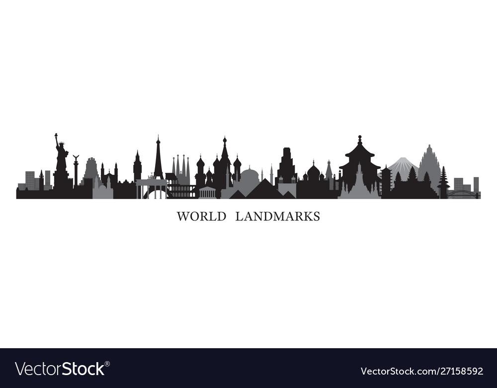 World skyline landmarks in black and white