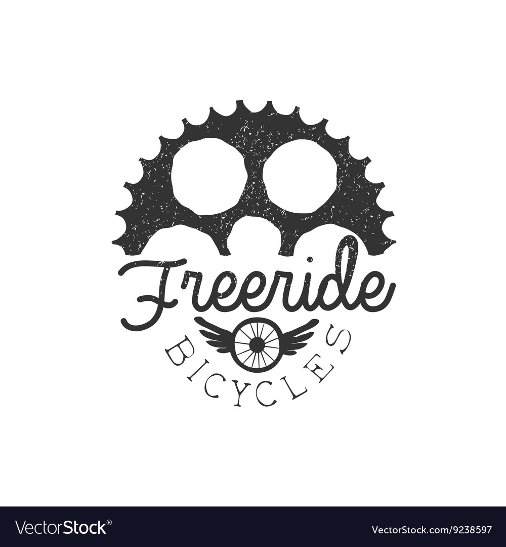 Freeride Vintage Label With Gear Silhouette