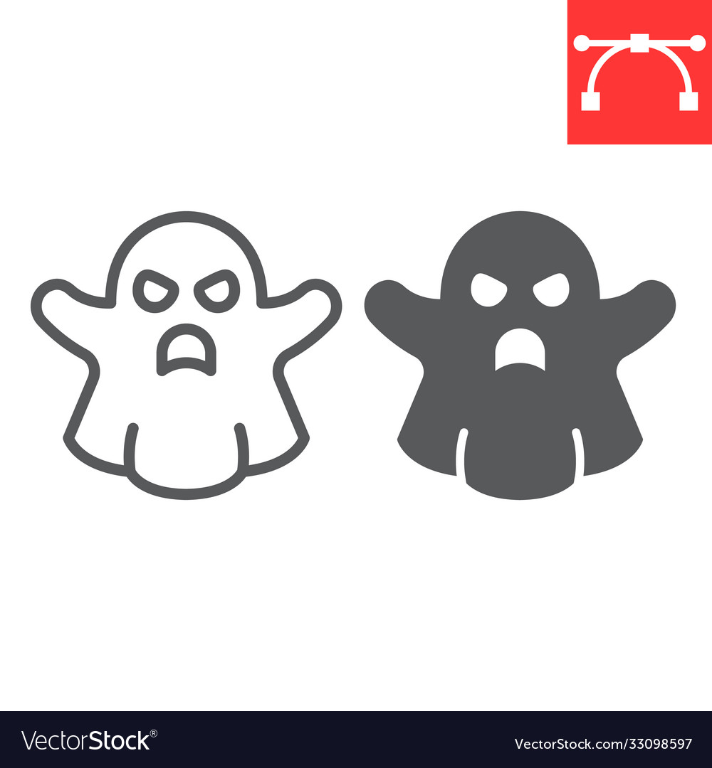 Ghost line and glyph icon halloween and scary