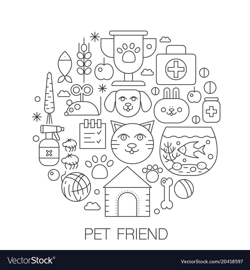 Pet friend in circle - concept line