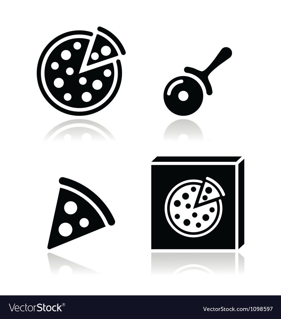 Pizza icons set with reflections vector image