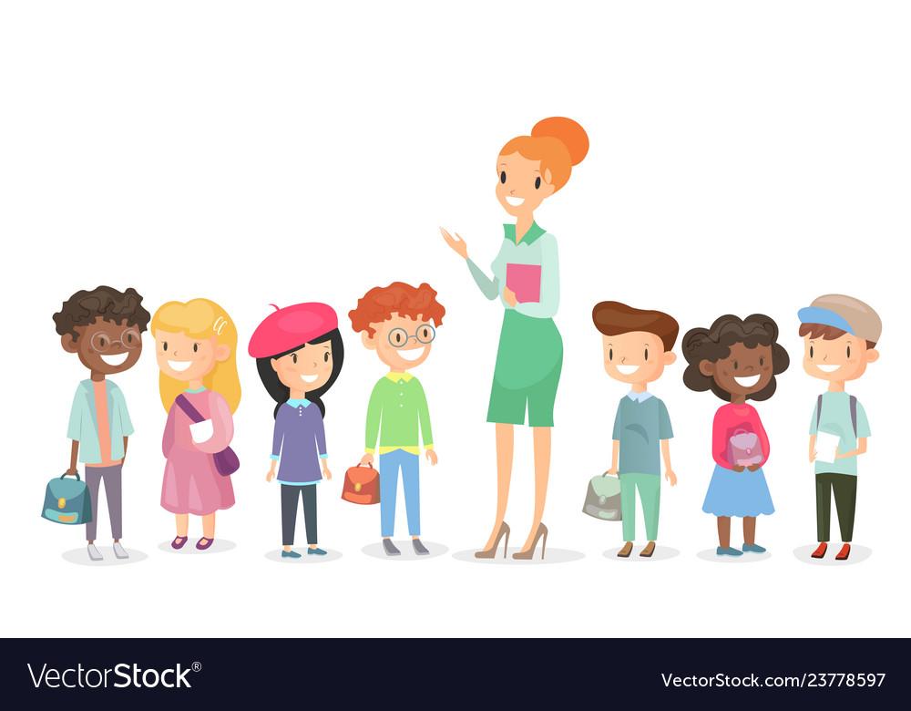 Schoolchildren group with