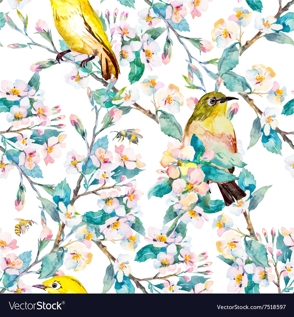 Spring Flowers And Birds Pattern Watercolor Vector Image