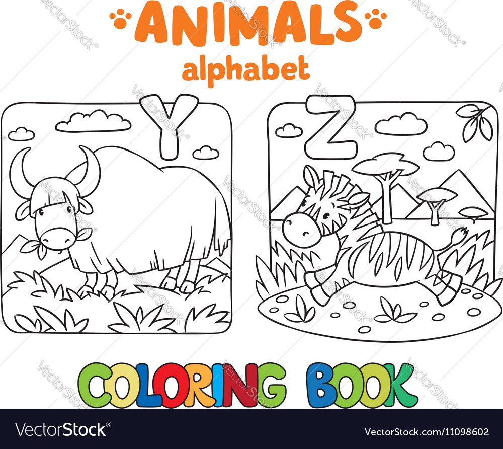 Animals alphabet or ABC Coloring book Royalty Free Vector