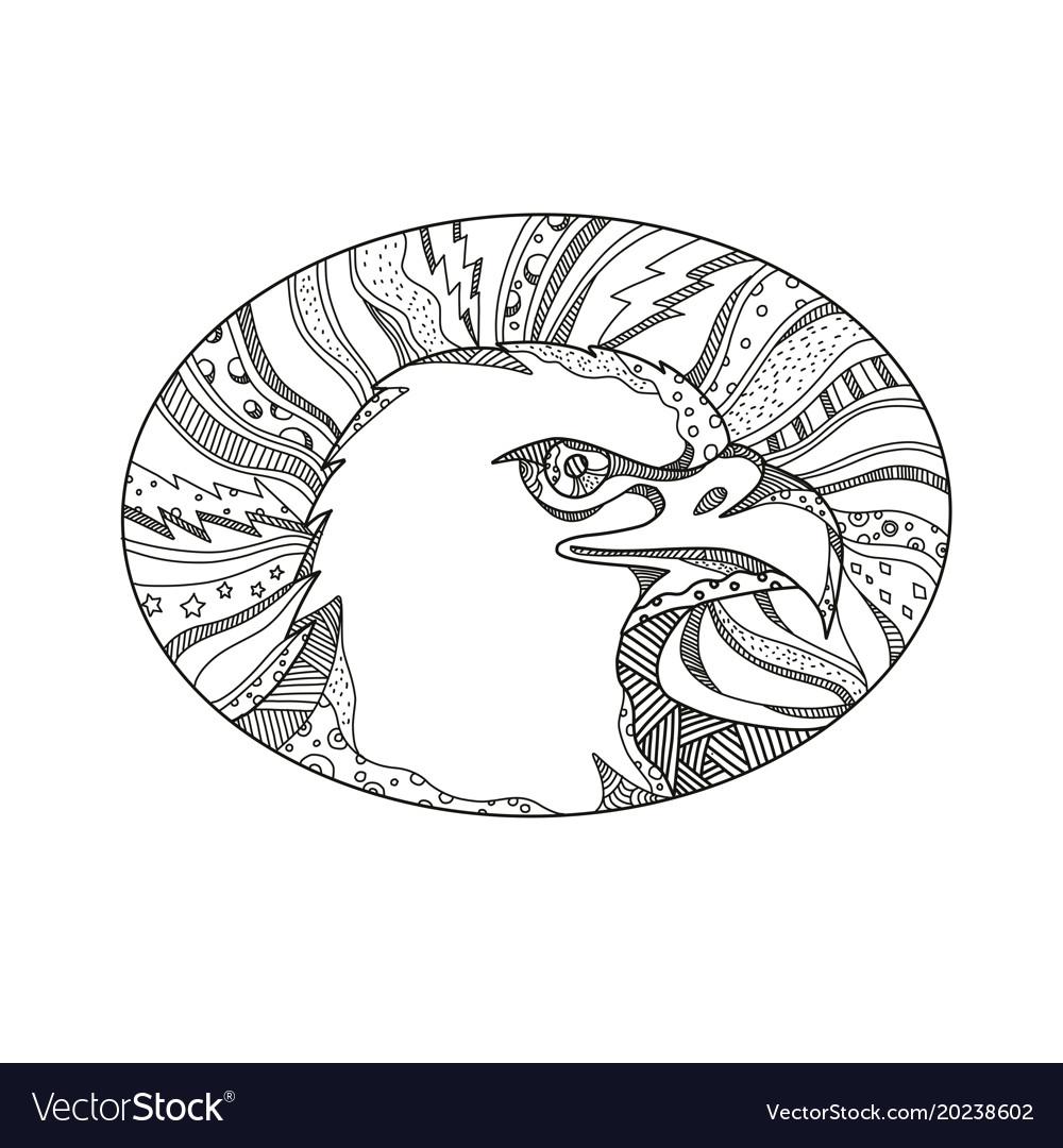 Bald eagle head doodle art
