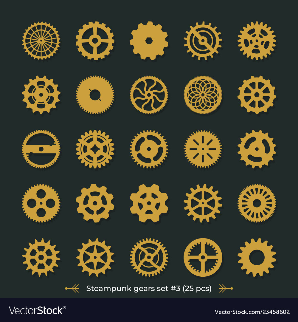Cogwheels on dark green background