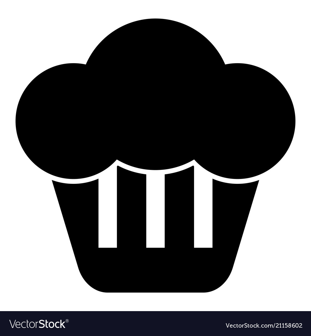 Cupcake icon black color flat style simple image