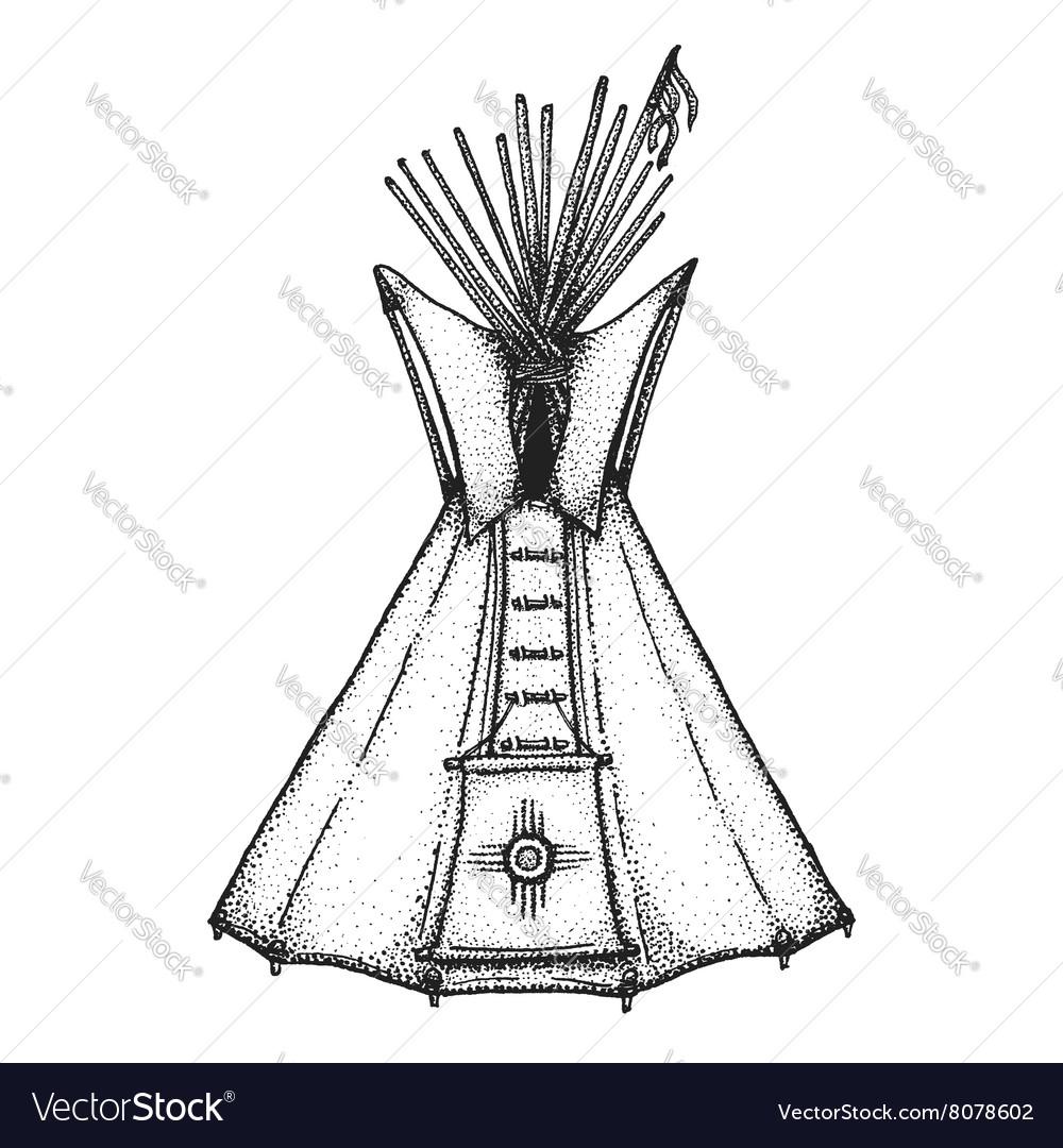 Hand drawn indian tipi vintage vector image