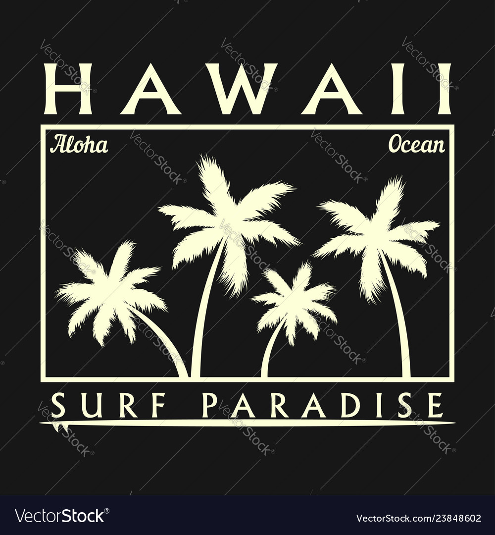 Hawaii surfing typography for design t-shirt