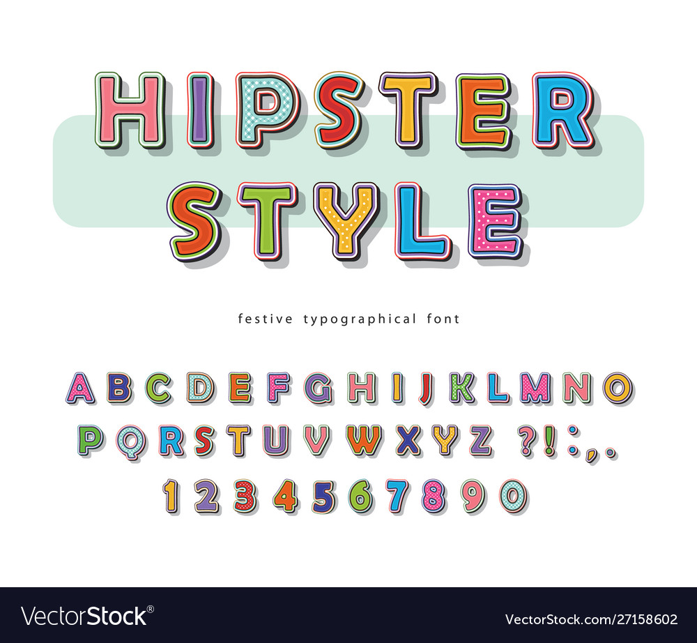 Hipster style font design comic pop art colorful