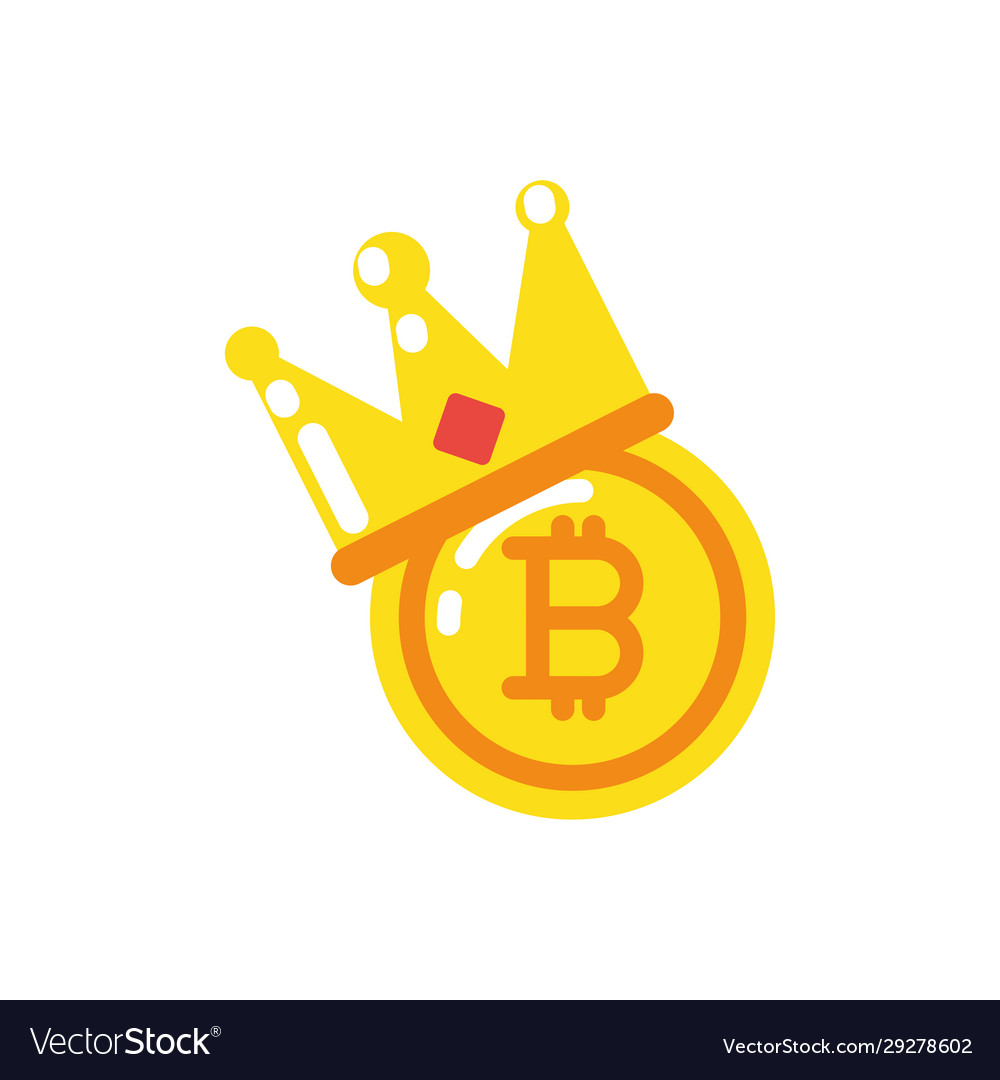 Isolated bitcoin with crown design