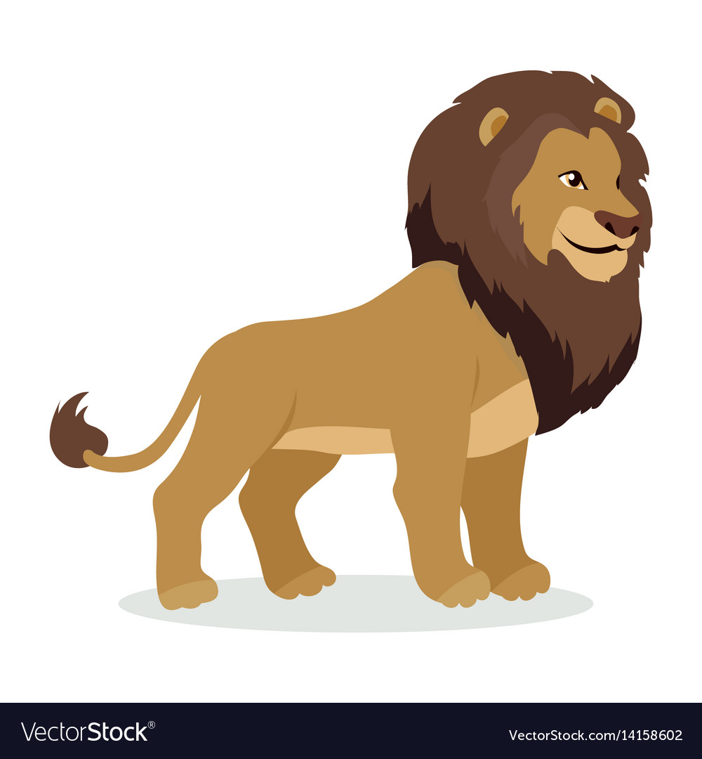 Lion cartoon icon in flat style design
