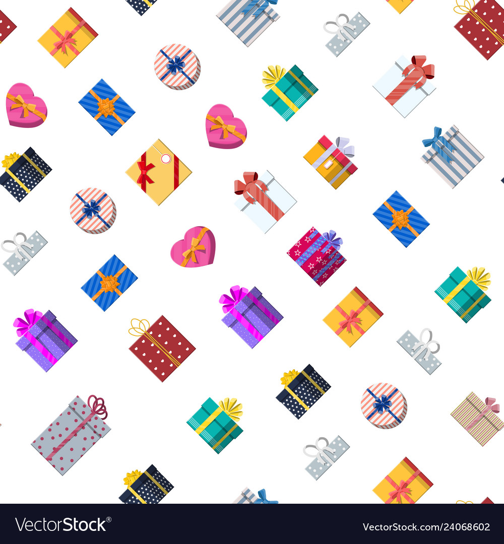Seamless pattern with gift boxes on white