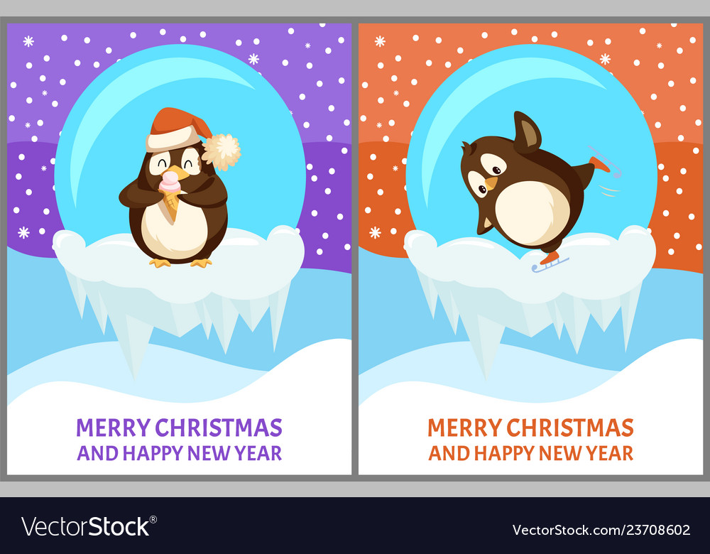 Set of papercard of snow-globe with penguin