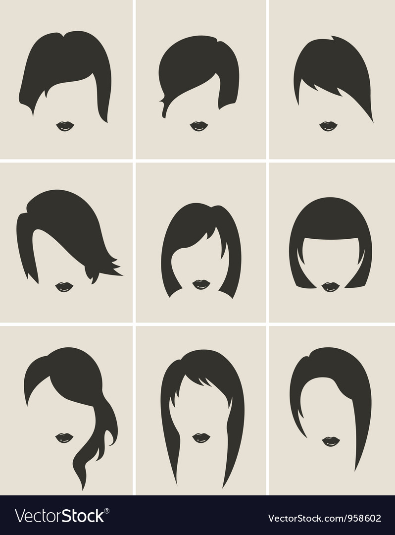 Set woman hair silhouette