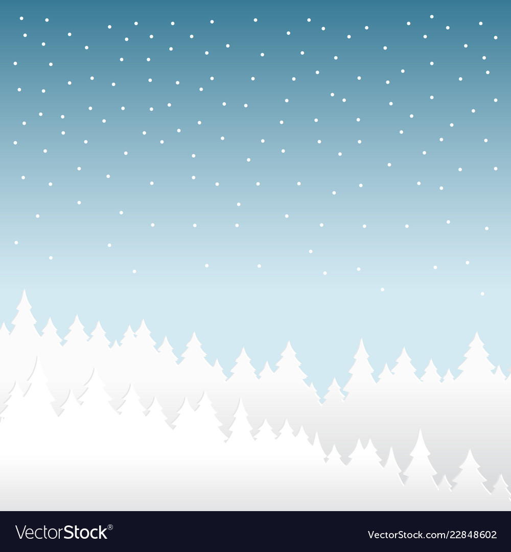Snow and winter season background with forest