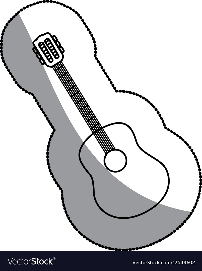 Sticker sketch contour acoustic guitar icon