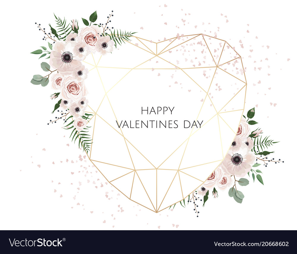Valentines Card On White Background With Trending Vector Image