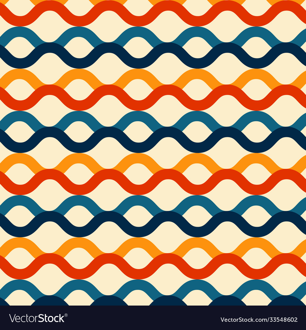 Wave lines seamless pattern retro color style
