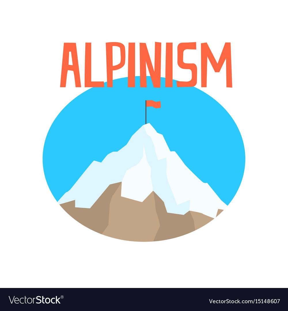 Alpinism badge peak mountain label