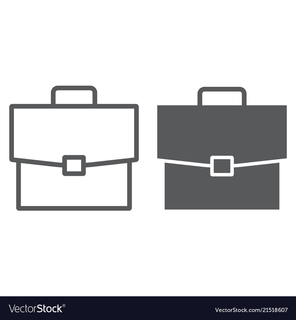 Briefcase line and glyph icon office and work