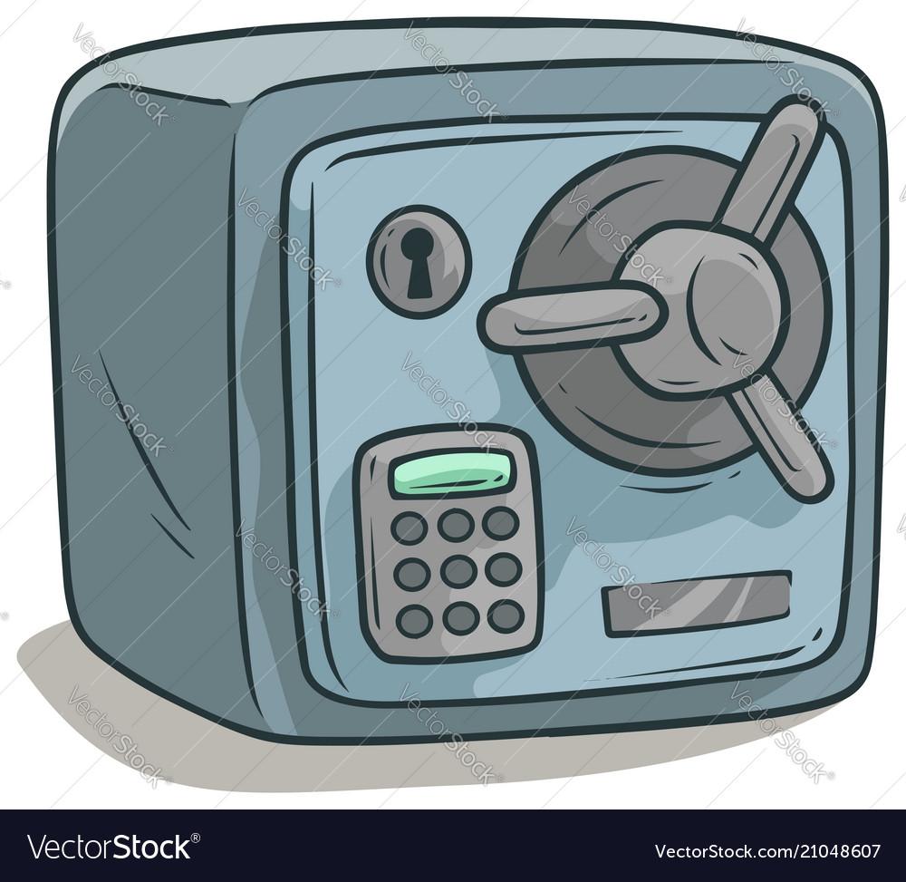 Cartoon steel safe box with lock icon