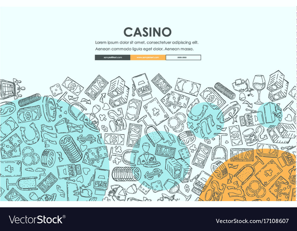 casino doodle website template design royalty free vector