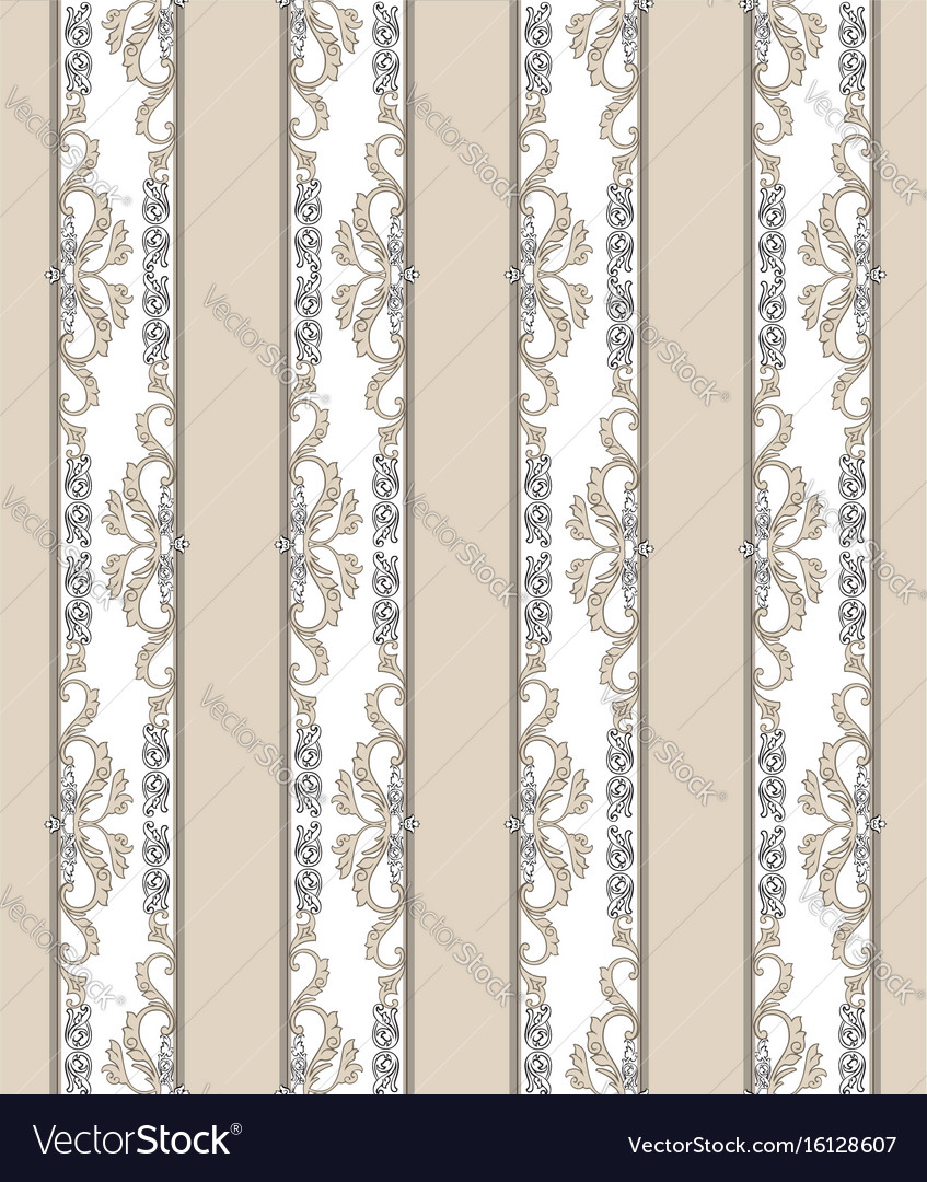 Floral Seamless Vintage Background Retro Striped Vector Image