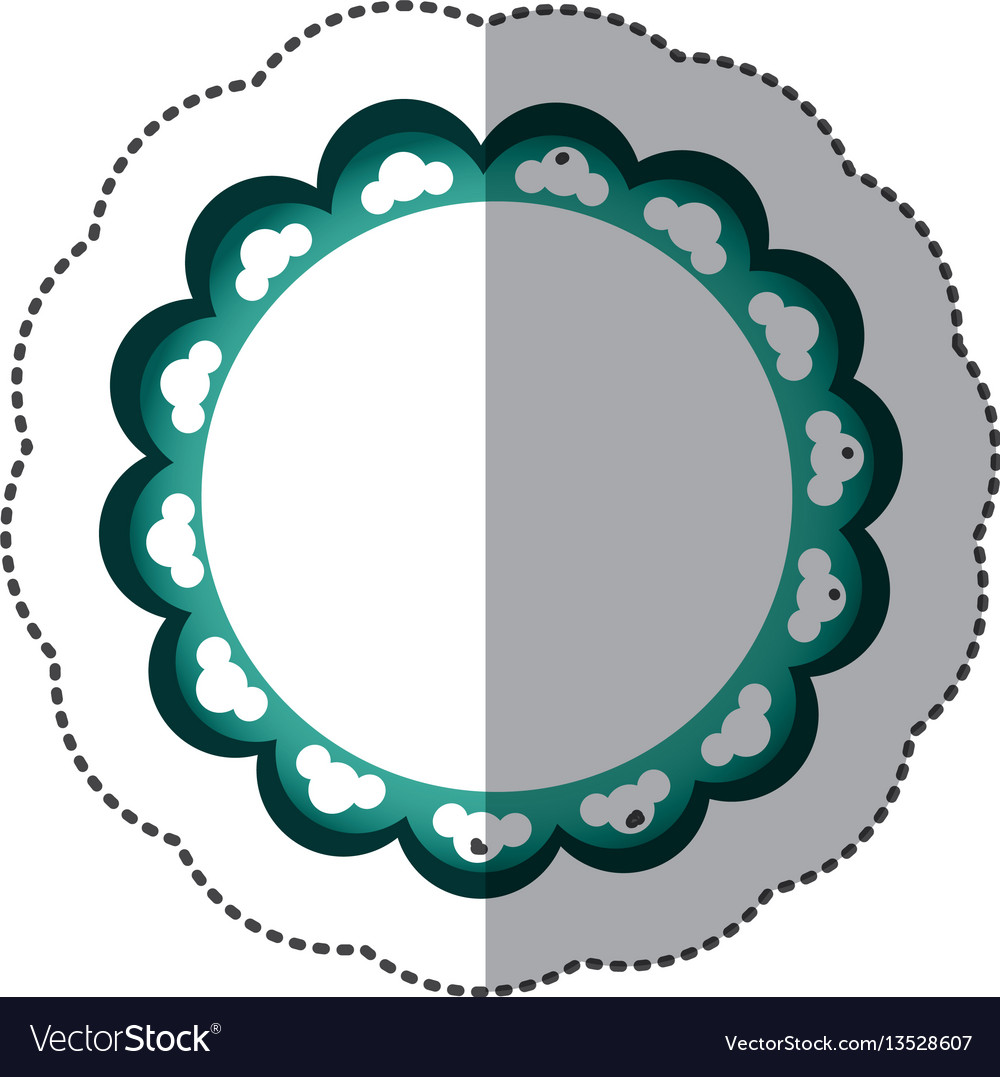 Green emblem with abstract decorations icon