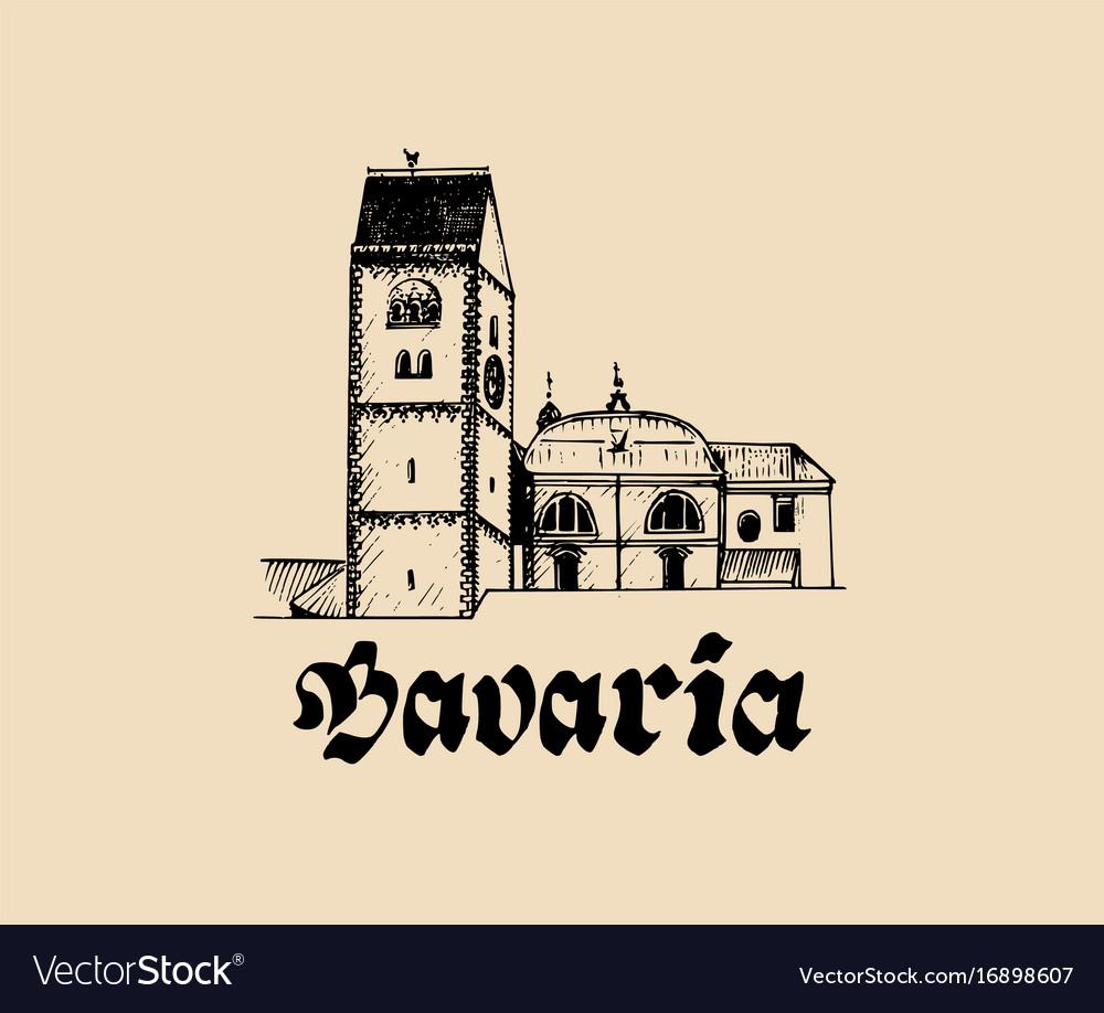 Hand sketched bavarian architecture symbol