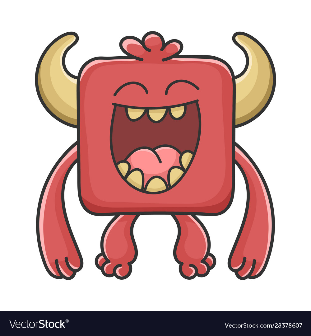 Happy laughing red square devil cartoon monster