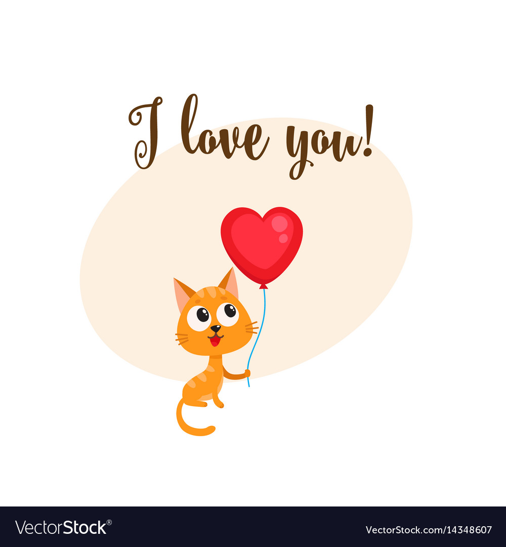 I love you card with cat holding heart shaped