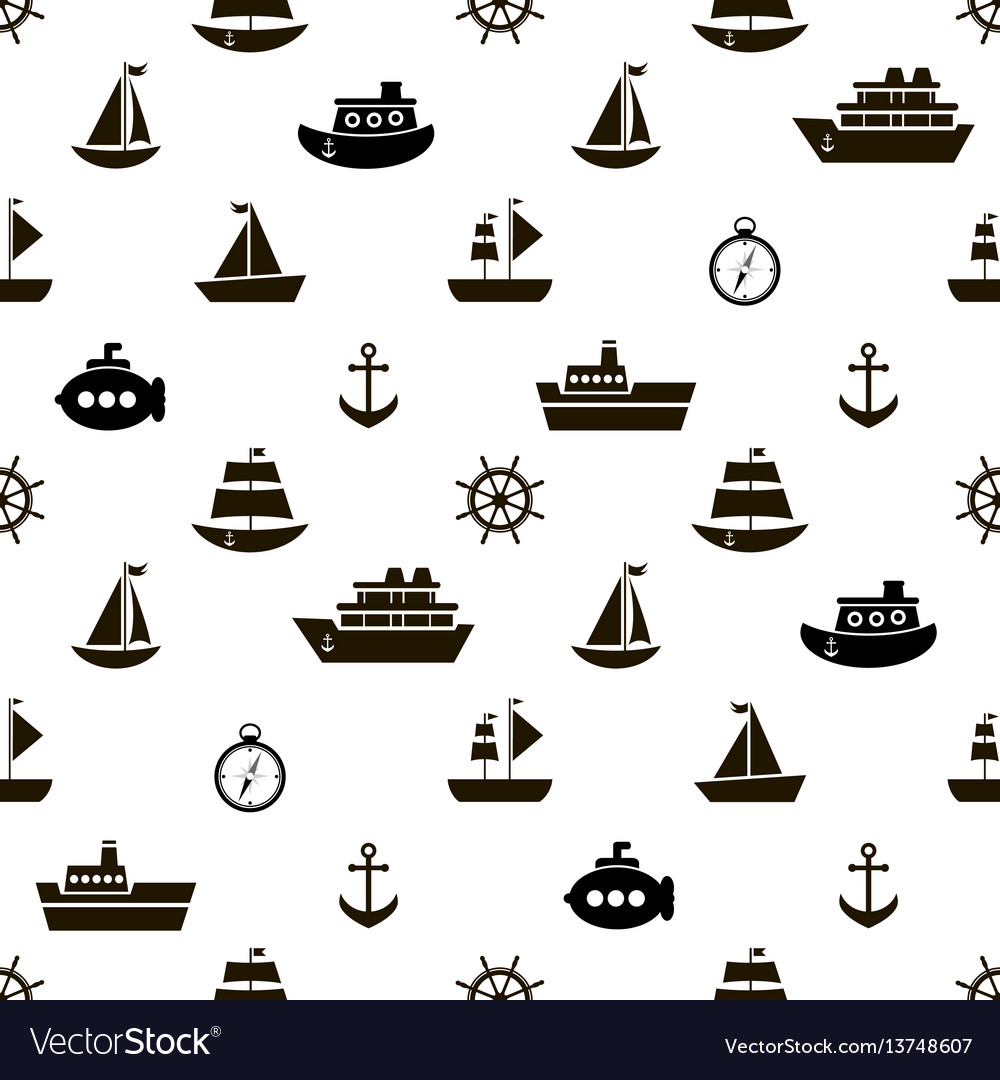 Seamless pattern with black sea transport icons