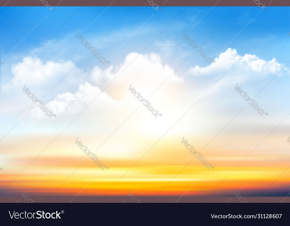 Sunset sky background with transparent clouds