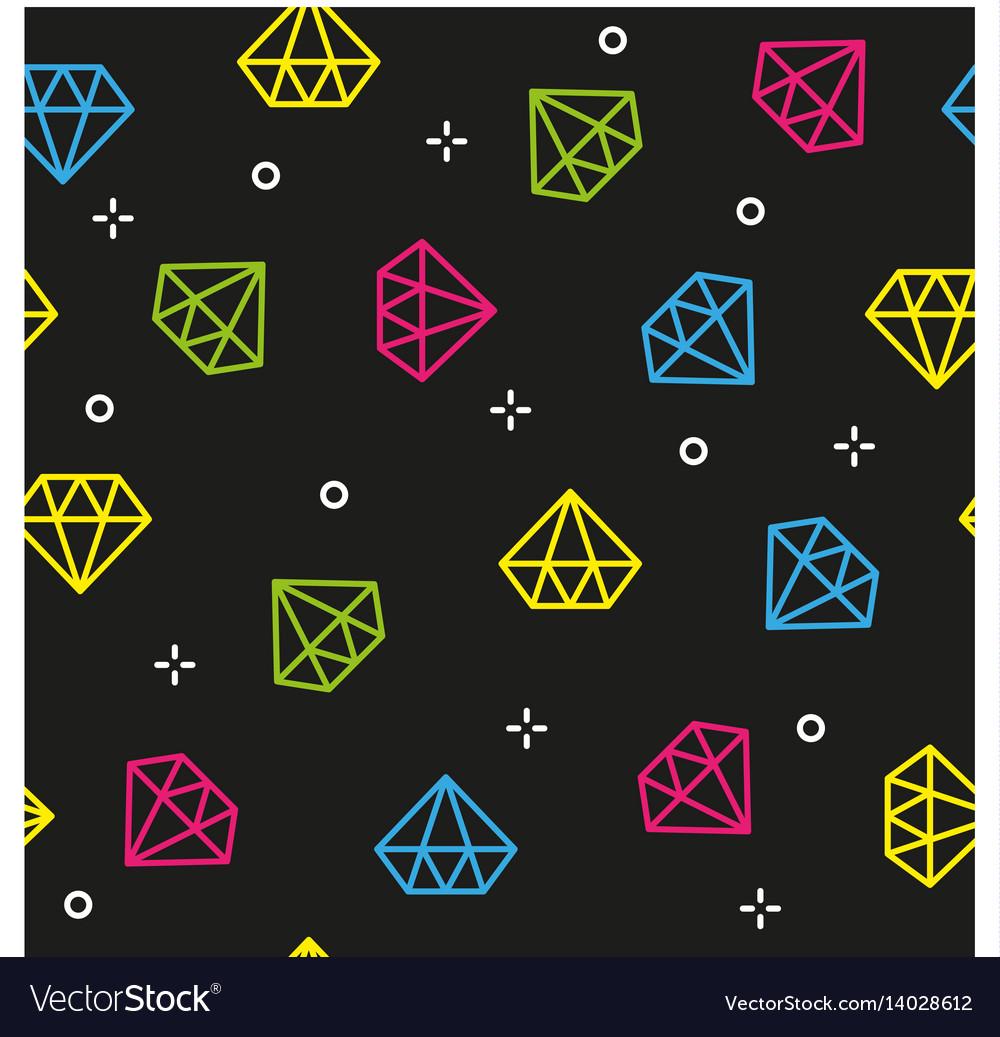 Diamond colorful dark seamless pattern