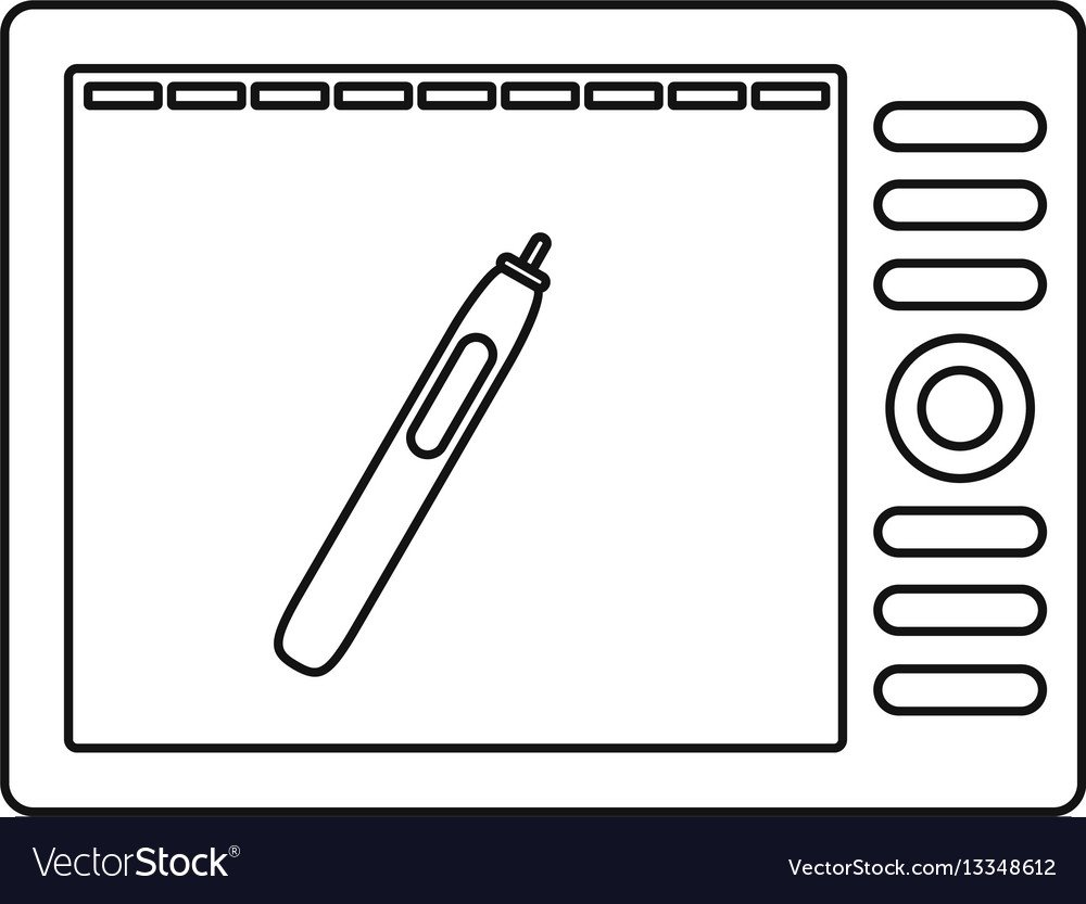 Graphics tablet icon outline style