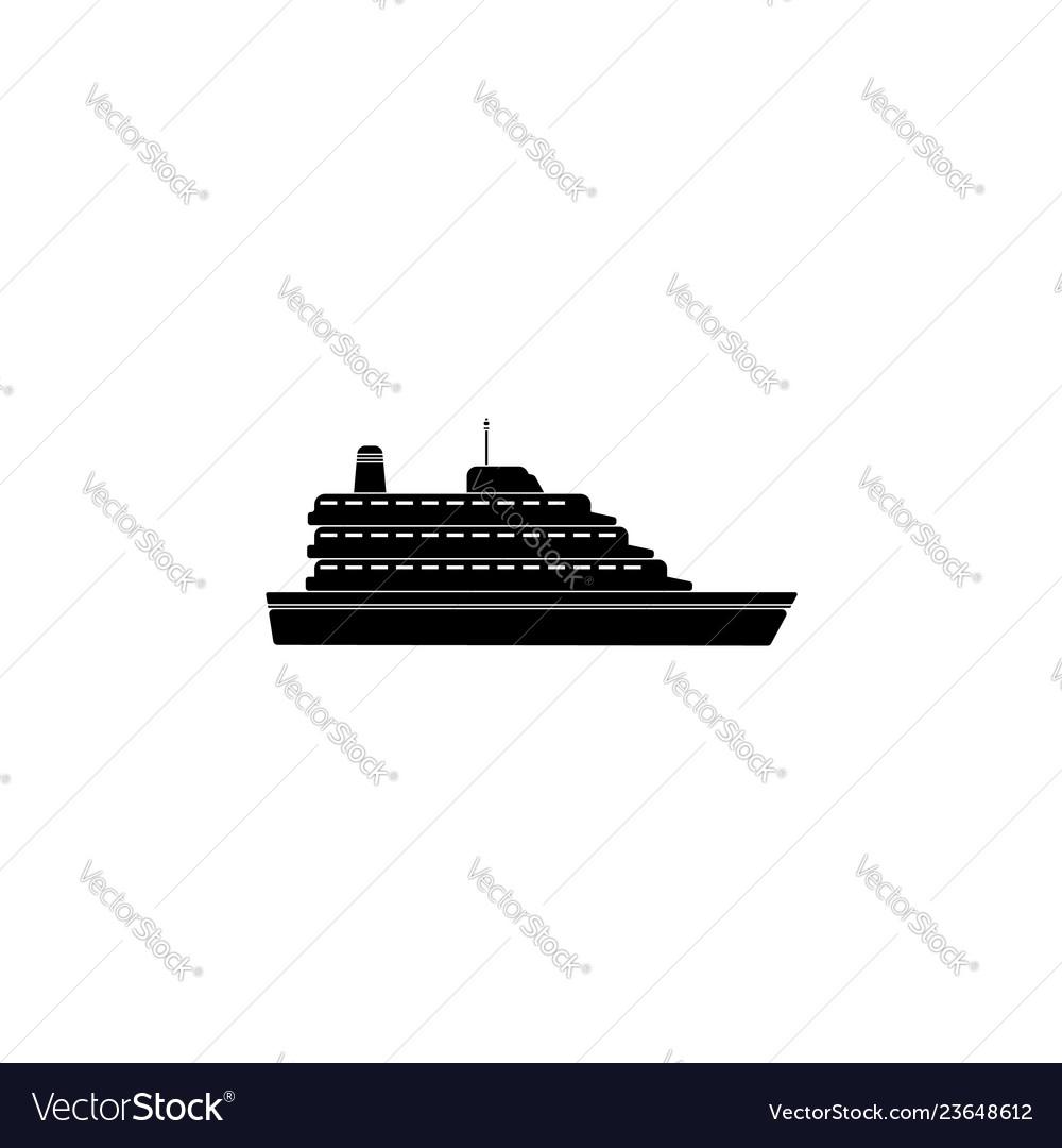 Ruise ship icon ship icon black on white