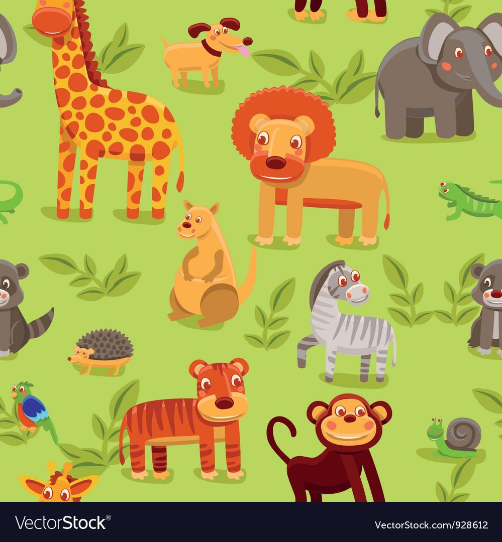 Seamless pattern with cartoon animals