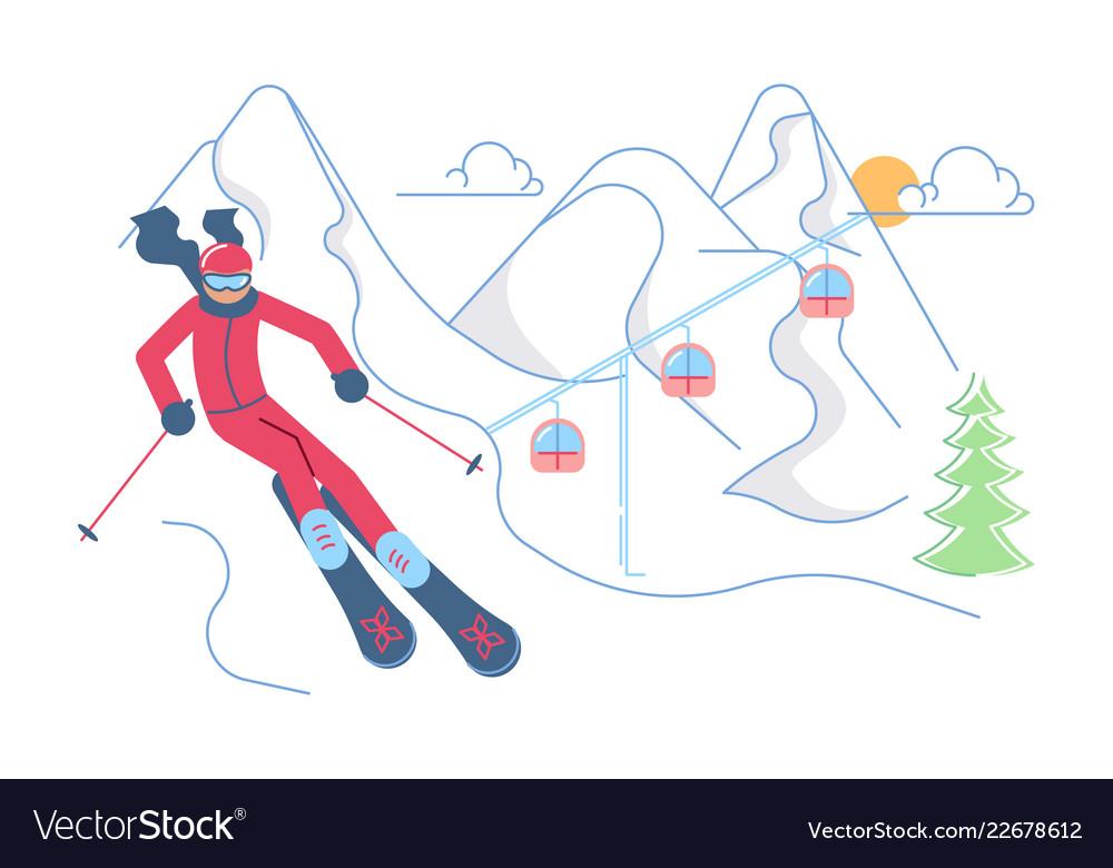 Skier on winter mountain landscape