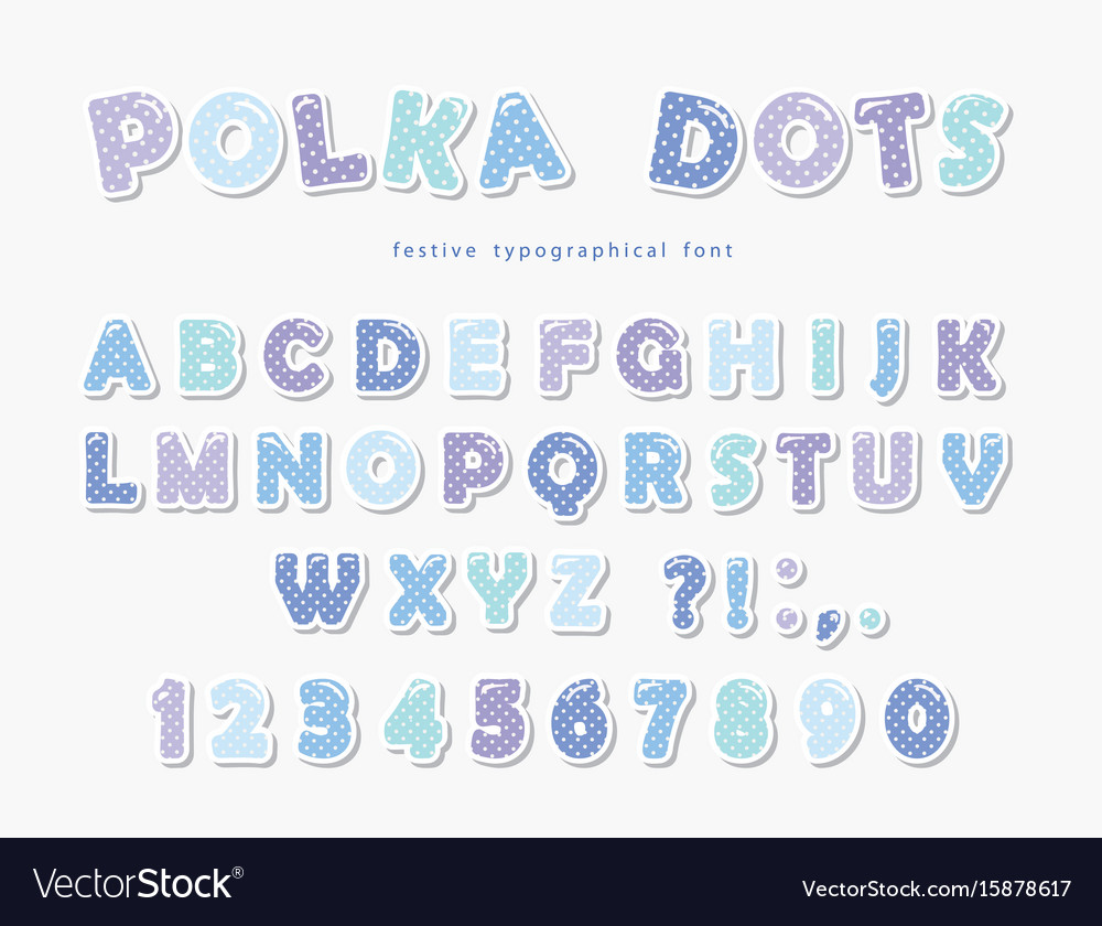 Cute polka dots font in pastel blue paper cutout vector image
