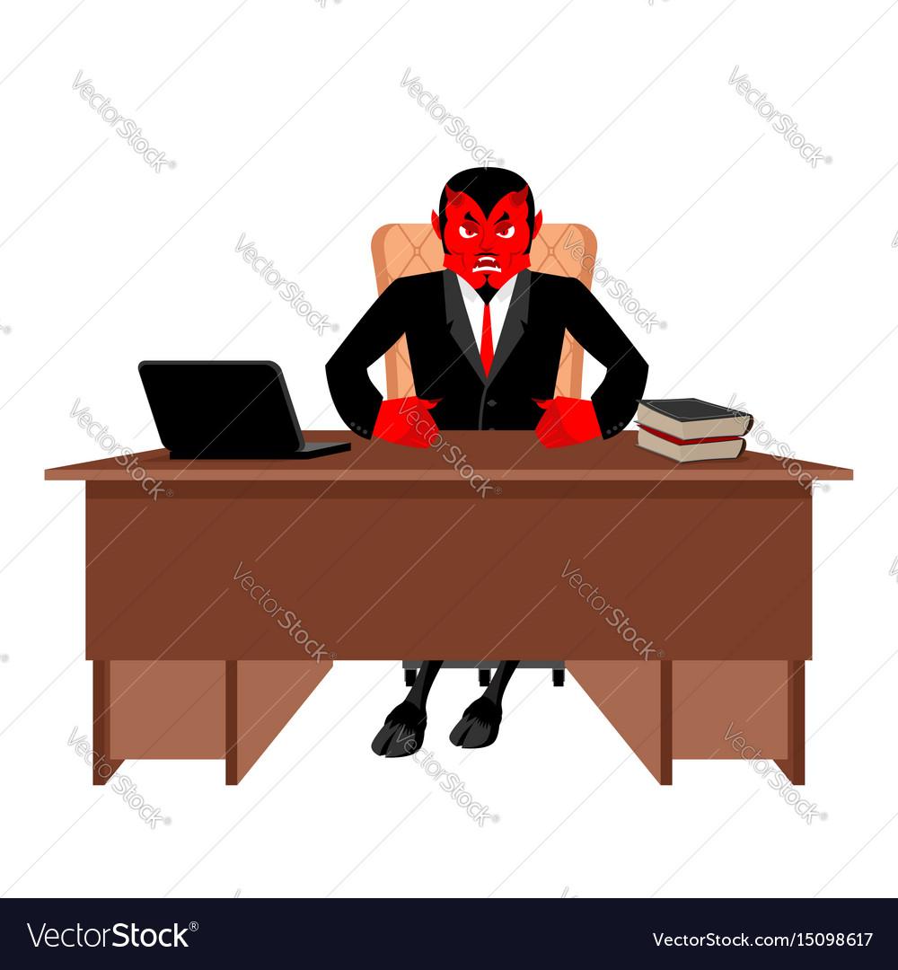 Diablo boss sitting in office devil of workplace