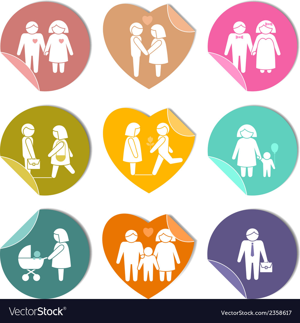 Family stickers set vector image